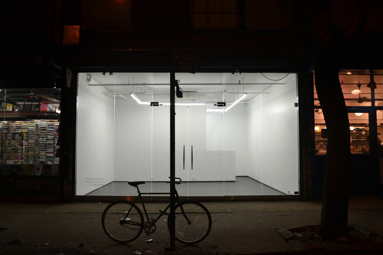 2 Rivington Street pop up space temporary lease art gallery nightime